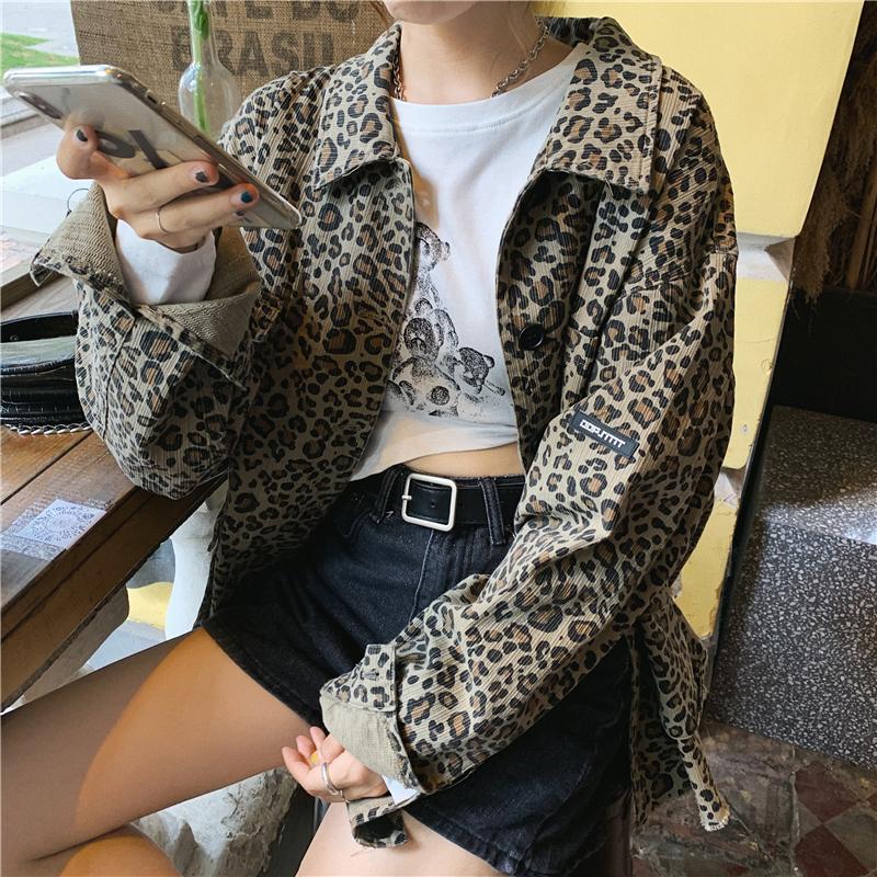 实拍实价 韩版复古百搭宽松大口袋BF豹纹翻领长袖外套-爆爆酱-