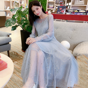 The new autumn 200 pounds fat m large size female decoration was thin and covered the belly to reduce the age and put the net yarn fairy skirt two sets