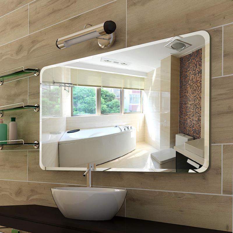 圆角无框浴室镜粘贴壁挂免打孔厕所卫生间洗手间洗手盆镜子贴墙