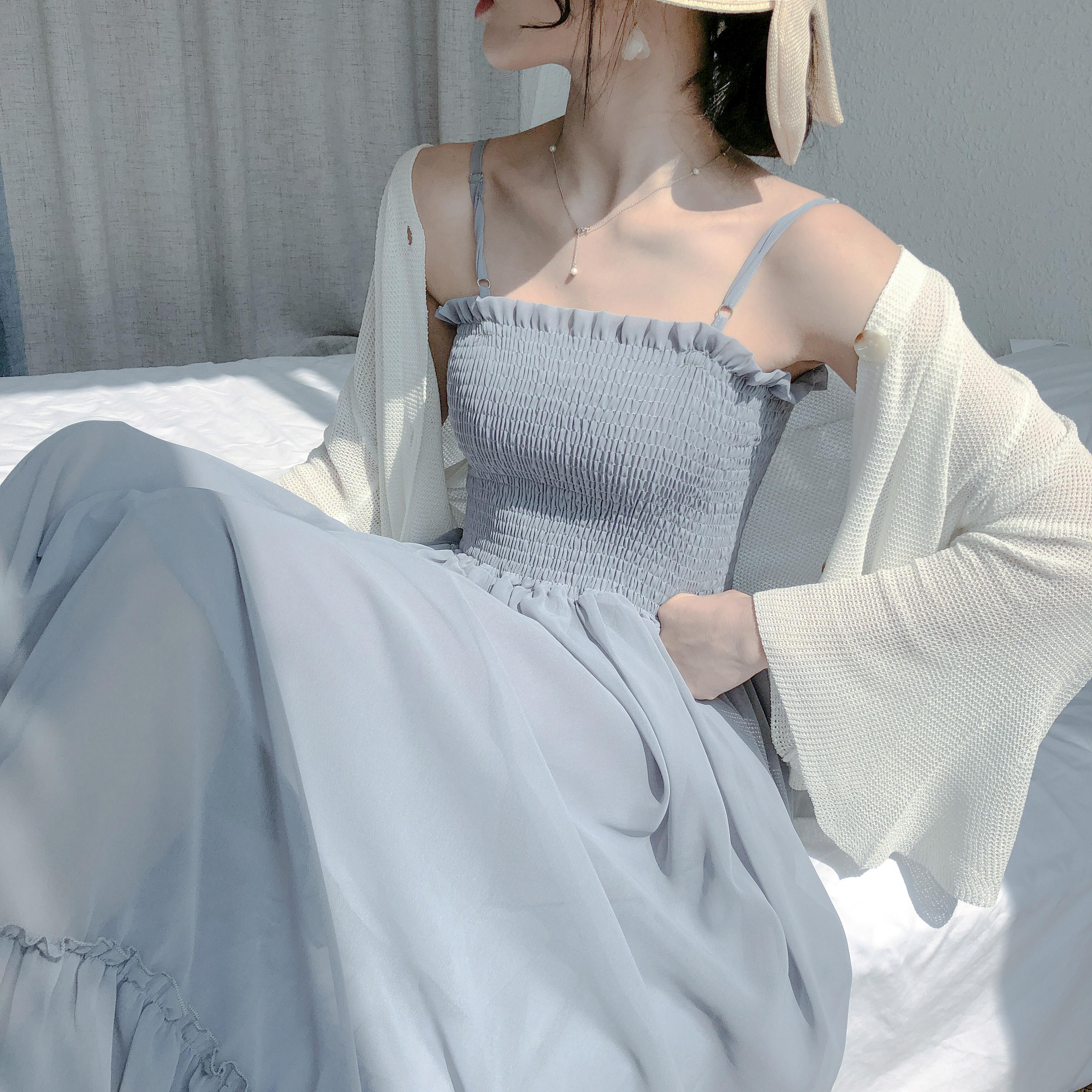 很仙的法国小众雪纺吊带连衣裙2019新款夏仙女超仙甜美长裙子显瘦