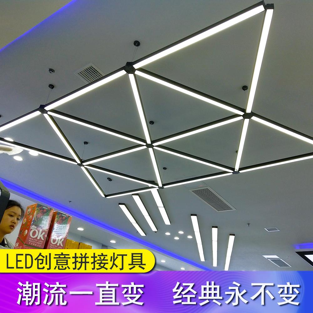 现代简约创意办公室led吊灯商业照明长条吊线灯条形商场工程灯具-麦道灯饰厂家