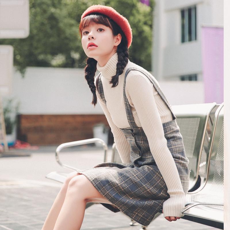 2017秋冬新款韩版套装两件套裙子学生毛呢格子背带裙吊带连衣裙女