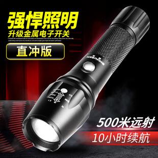强光手电筒可充电超亮远射1000氙气防水5000灯打猎w多功能特种兵