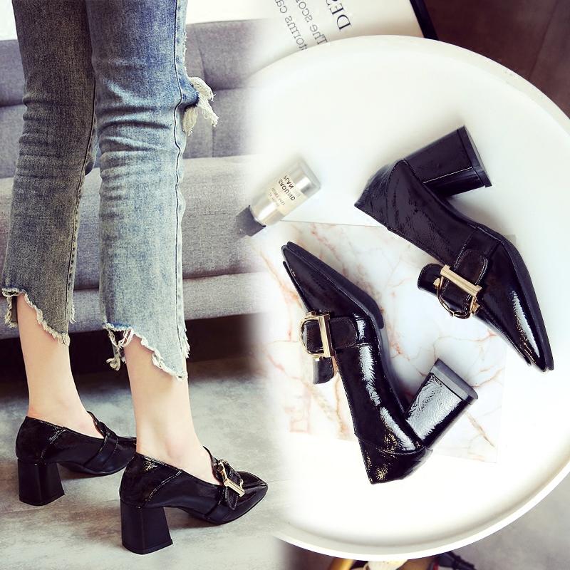 [¥93]女鞋2020春季新款韩版百搭方头小皮鞋女英伦风复古粗跟高跟单鞋女