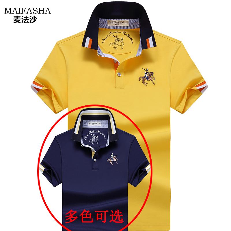 夏季短袖t恤男士新款翻领丝光棉宽松大码保罗Polo衫男装体恤上衣