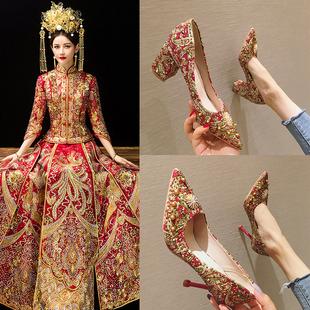 新娘秀禾鞋中式婚鞋女2020新款春季红色敬酒高跟鞋绣花结婚鞋子潮图片