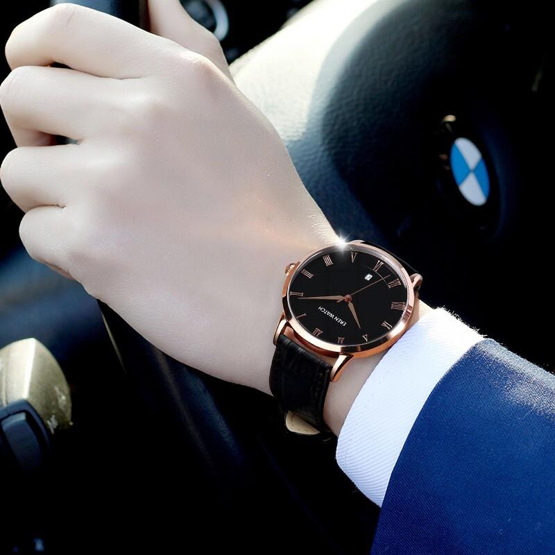 男士手表防水时尚2020新款手表男学生韩版简约石英潮流休闲日历表