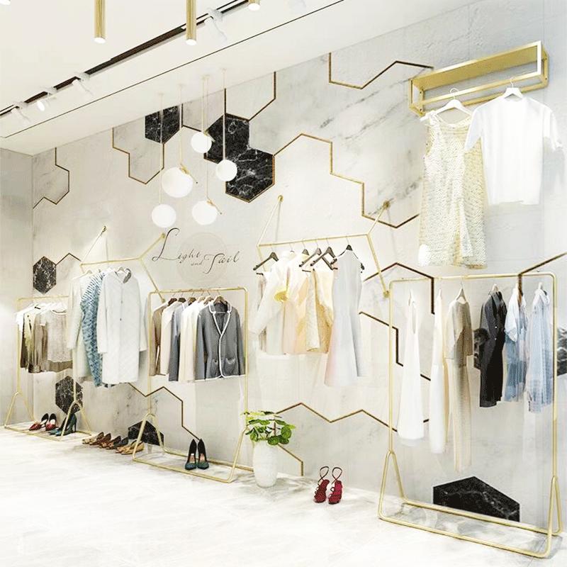 北欧简约大理石墙纸网红奶茶甜品店服装店美容工作室ins几何壁纸