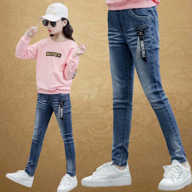 女童牛仔裤秋冬装2018新款12儿童装冬季韩版加绒长裤子中大童15岁
