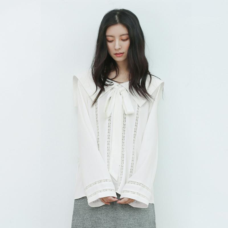 天鹅湖/复古宫廷风飘带领雪纺衬衫女 甜美蕾丝长袖衬衣上衣 春新