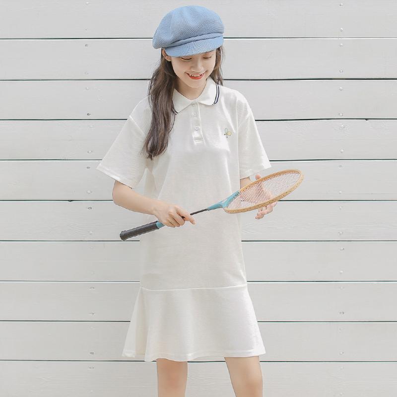 等你下课/自制 简约显瘦纯色短袖POLO裙 中长款连衣裙2018夏新