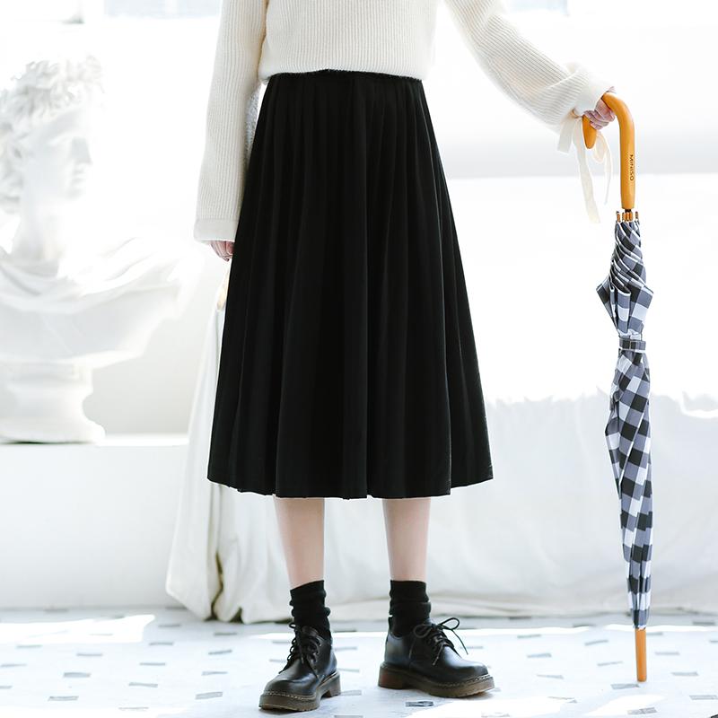 月夜诗篇/自制 百搭黑色百褶裙半身裙 复古气质中裙A字裙 秋新