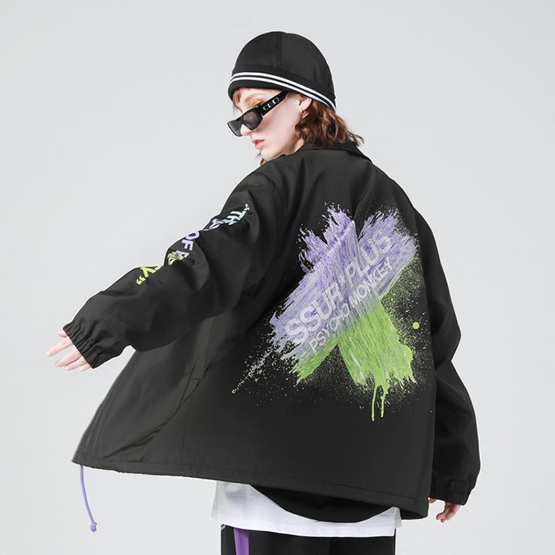 SSUR*PLUS联名PCMY教练夹克ins潮牌情侣刷漆渐变外套男女秋季上衣