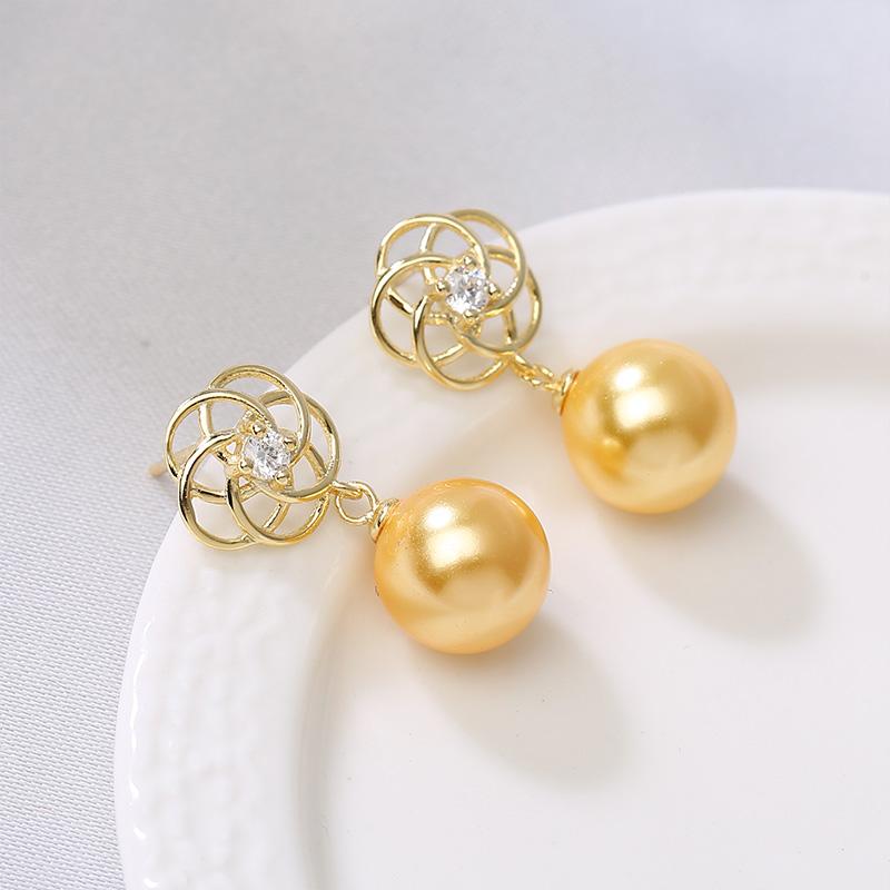 珍珠耳环女S925纯银高级感简约百搭耳坠天然贝珠耳钉耳饰时尚气质