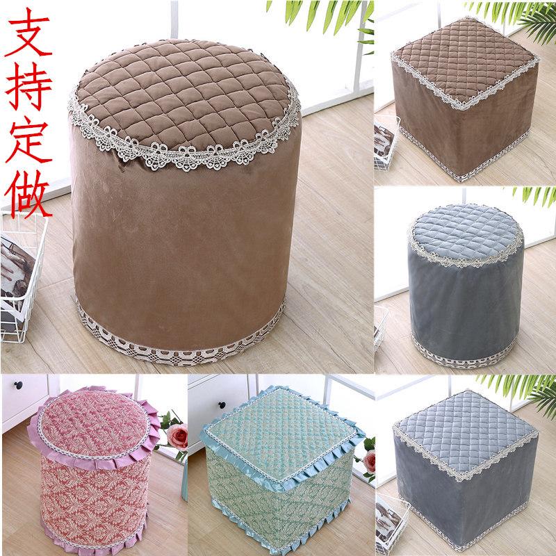 高档布艺小圆凳坐垫家用全包圆形皮墩罩试换鞋凳方形沙发凳套椅套