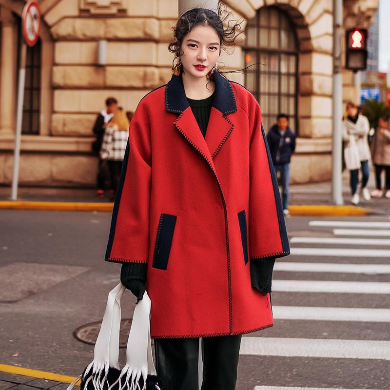 韩版显瘦拼色明线呢大衣中长款西装领廓形羊毛