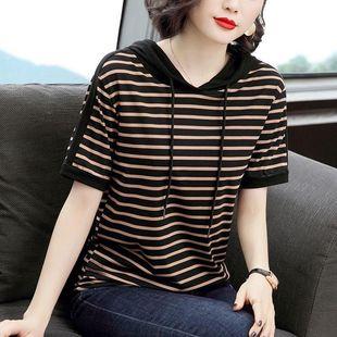连帽条纹短袖t恤女士夏季2021新款韩版大码显瘦纯棉t恤上衣春秋装