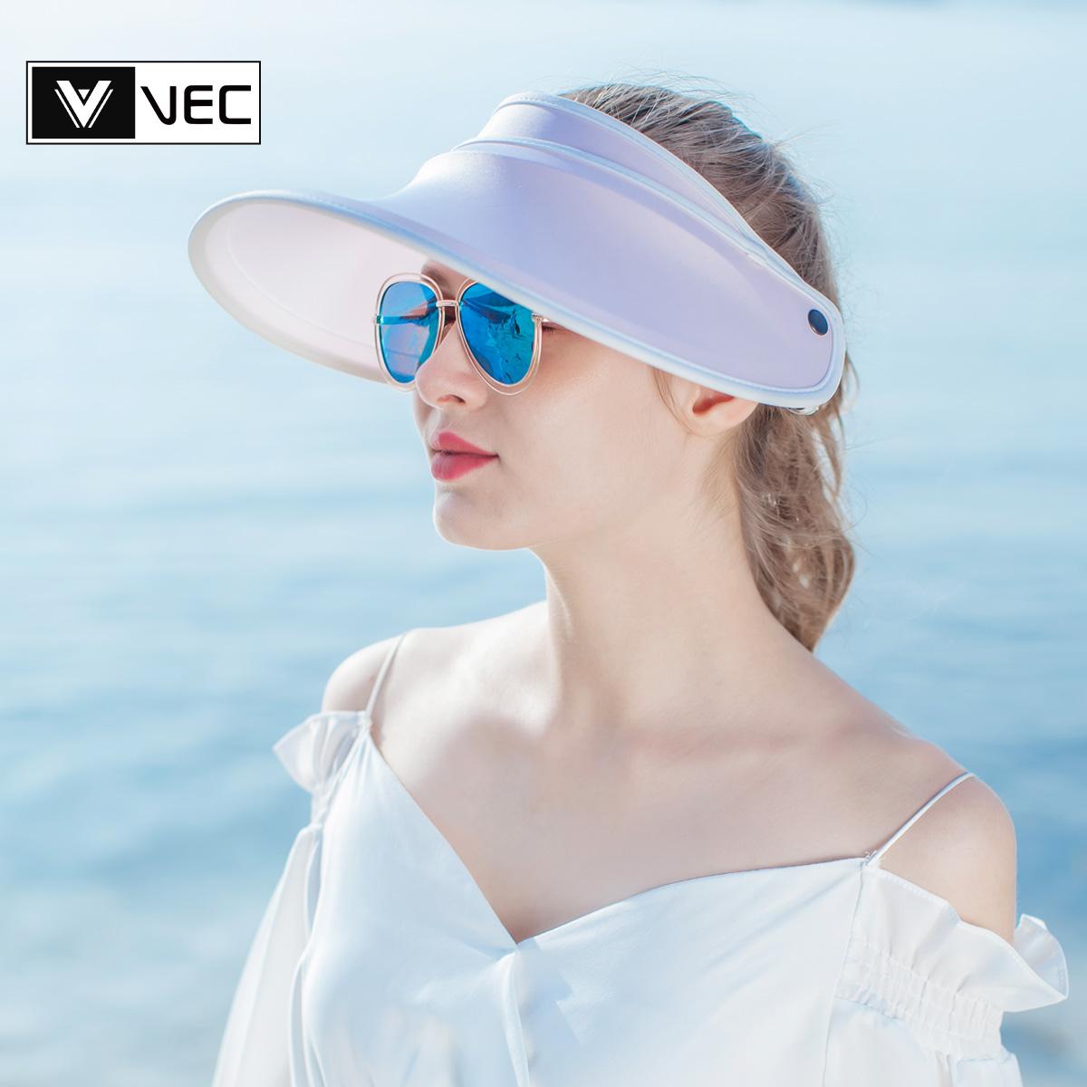 VEC遮阳帽女防晒遮脸太阳帽夏季空顶帽防晒帽女出游骑车防紫外线