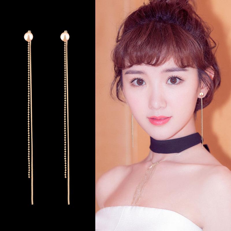 耳环韩国气质长款女简约珍珠流苏耳饰品个性百搭网红耳坠纯银耳线