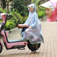 宝宝雨衣电瓶le3女童男童en带书包位加厚面料防水雨披男女