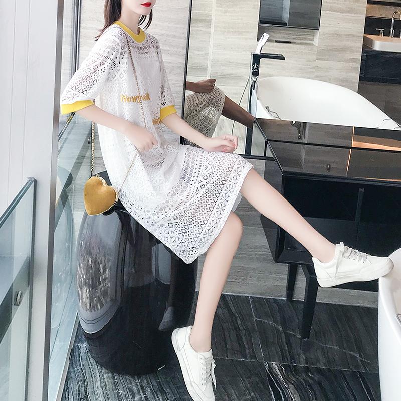 蕾丝连衣裙女夏2019新款夏季宽松显瘦镂空小个子裙子吊带裙两件套