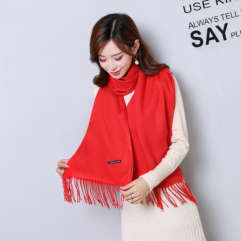 百搭围巾女秋冬季纯色仿羊绒文艺中国红长款春秋空调房保暖披肩厚