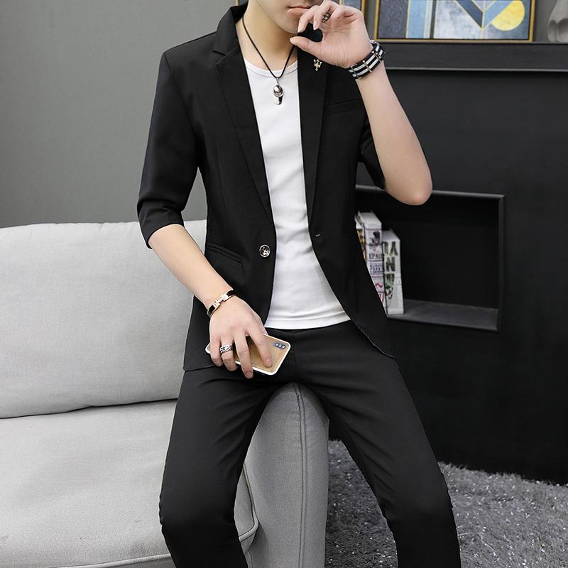 西服套装春夏薄款韩版修身帅气外套发型师休闲中袖男士小西装一套