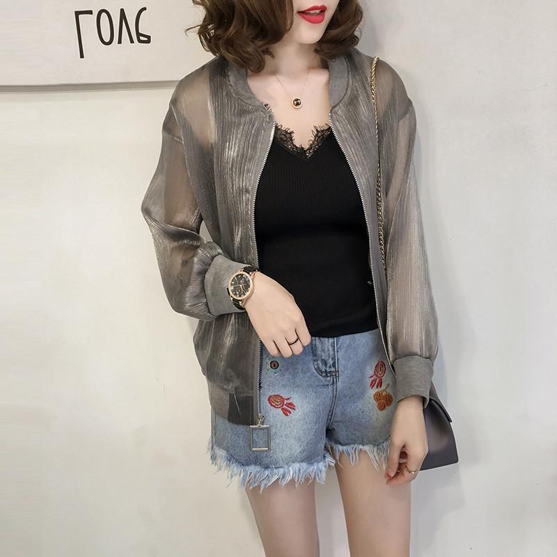 欧根纱防晒衣女夏季新款大码防紫外线亮丝短款棒球服开衫超薄外套