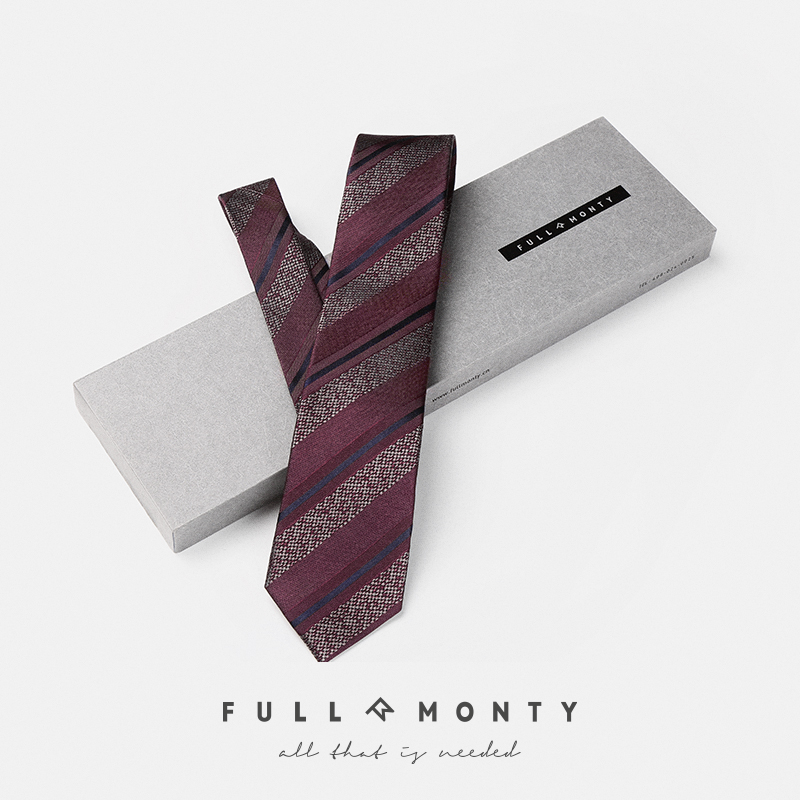 Full monty時尚男士正裝商務條紋窄新郎結婚波點蠶絲真絲領帶