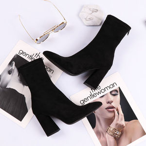 Boots children's shoes new Korean version of autumn and winter in the tube pointed thick heel short boots female high heels female students elastic boots women