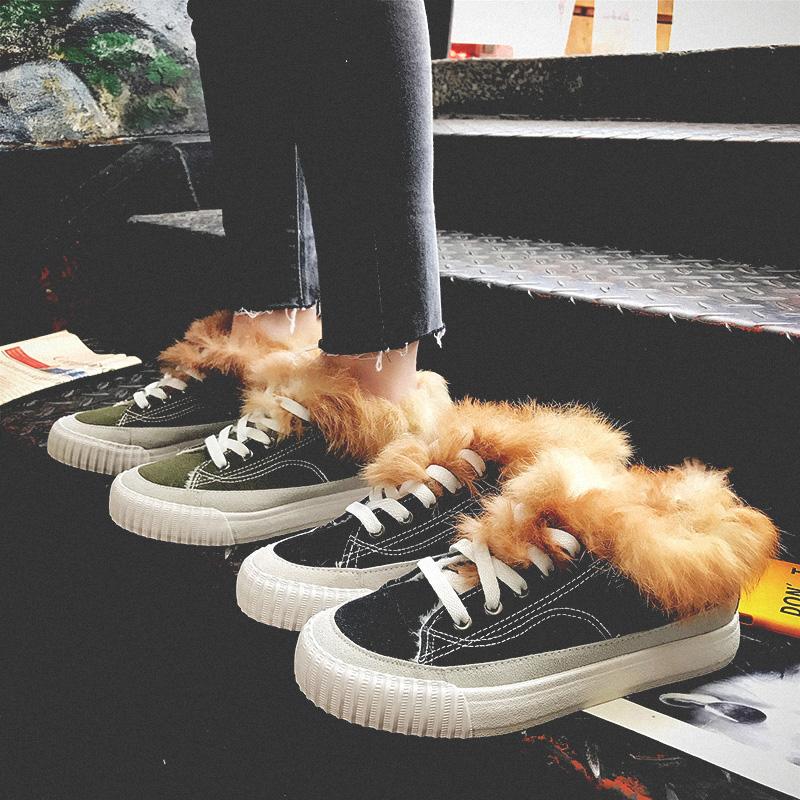 冬季女鞋兔毛豆豆鞋女