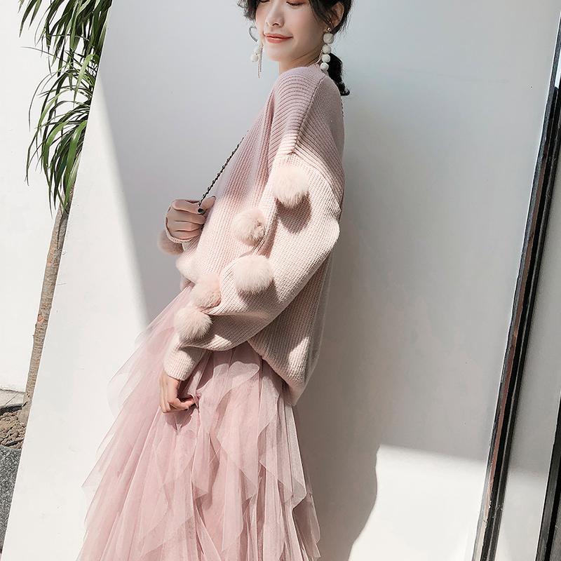 粉色毛衣2018秋冬季新款慵懒风套头网红上衣兔毛甜美针织打底衫女