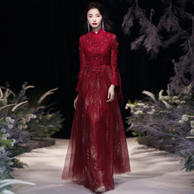 中式敬酒服新娘酒红色长袖秋冬ge11结婚礼xe2021新式嫁衣