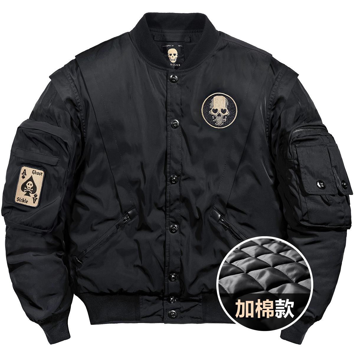 VIP秋冬季飞行员夹克男潮牌宽松工装外套韩版刺绣棒球服加厚棉衣