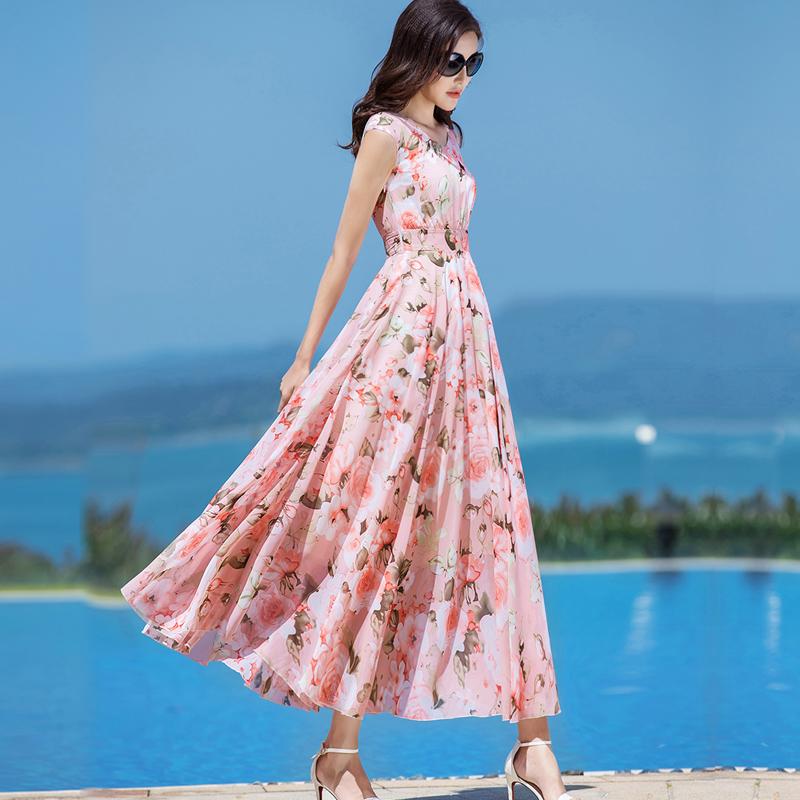 2019夏季新款收腰显瘦大摆雪纺连衣裙粉色碎花裙子印花长裙仙女