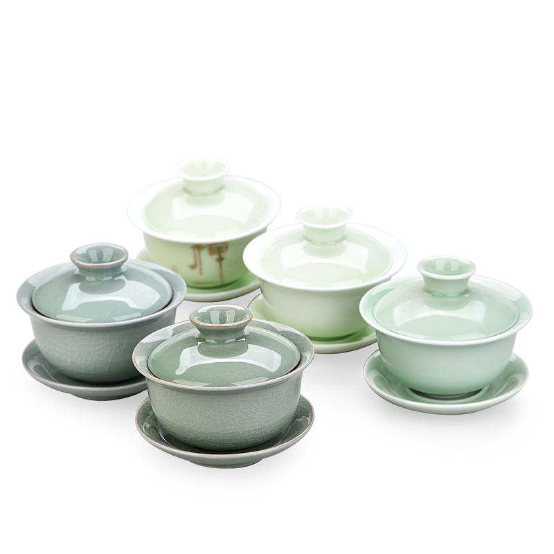 澜扬盖碗茶杯 大号景德镇陶瓷功夫茶具泡茶器 手绘粉彩三才杯碗
