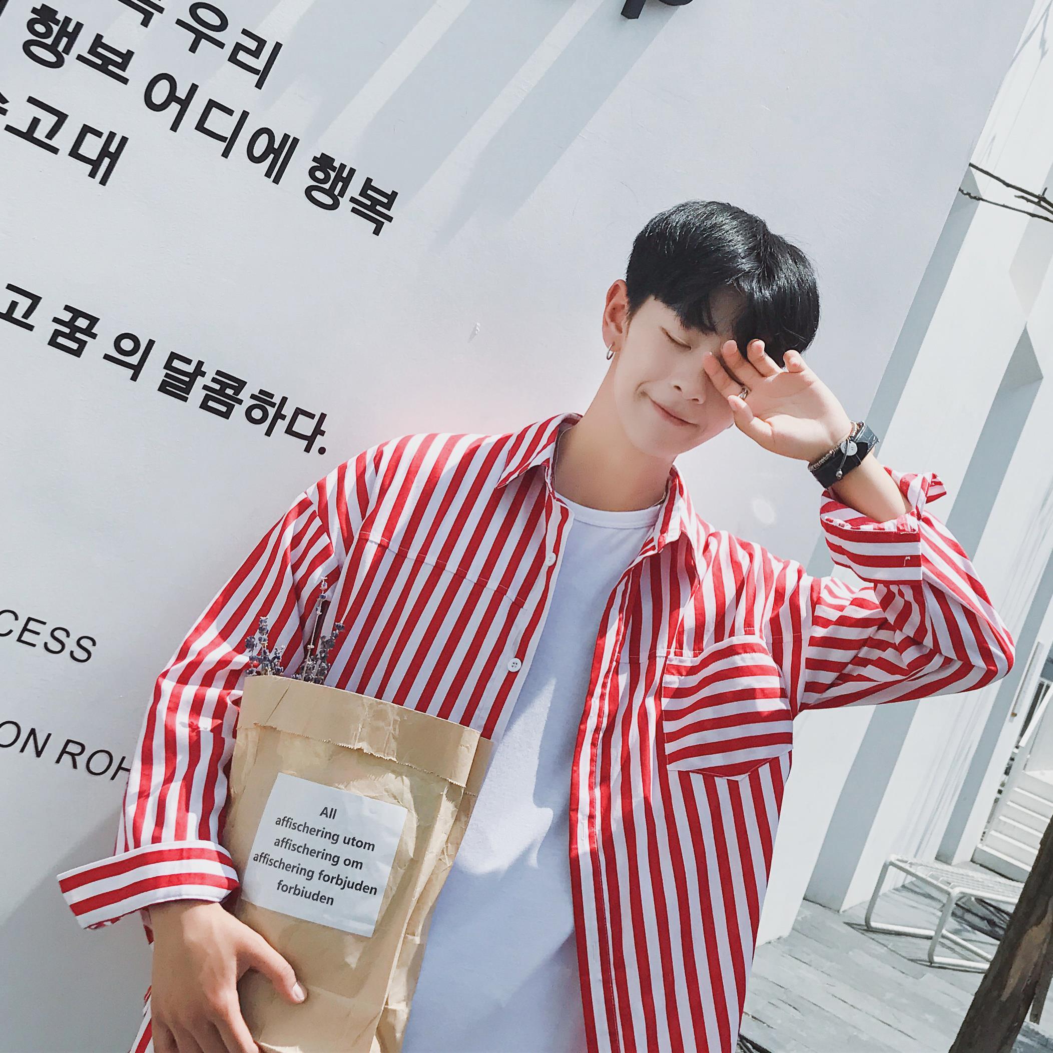 夏季港风bf条纹衬衫男士韩版潮流宽松衬衣长袖青少年学生原宿衣服