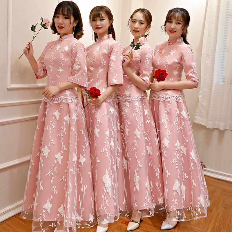 中式伴娘服2018新款冬长款姐妹团伴娘礼服裙女显瘦复古中国风旗袍