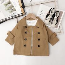 安安家婴童装儿童男童秋季中长款风衣1-3岁宝宝双排扣风衣外套潮