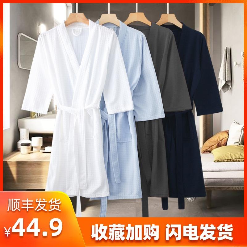 酒店浴袍五星级男女士浴衣美容院睡袍长款情侣日式和服吸水速干夏