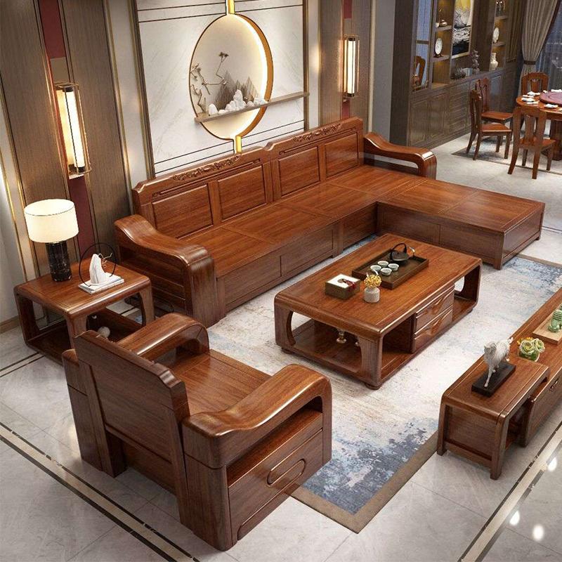 金丝胡桃木全 实木沙发组合现代简约中式客厅冬夏两用带储物雕花