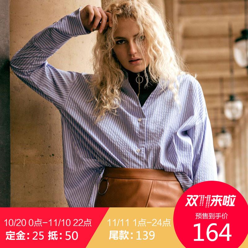预Andersson Bell韩国正品休闲袖口开叉条纹衬衫 宽松长袖女衬衣