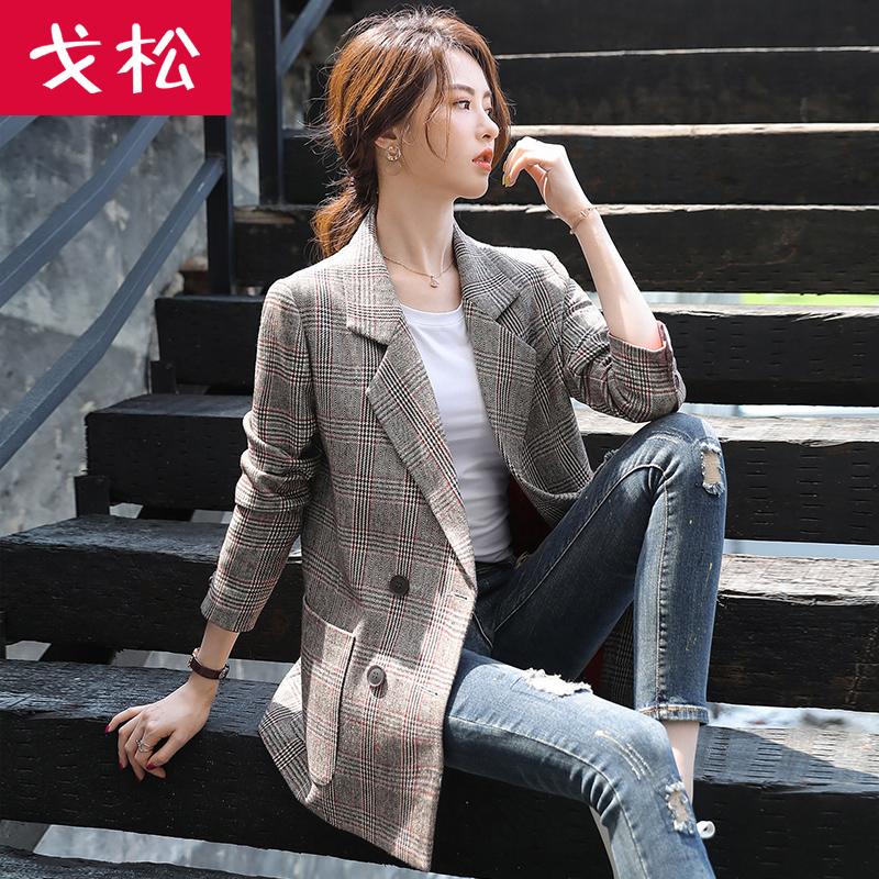 格子小西装外套女2019新款春秋网红休闲韩版复古英伦风西服女上衣