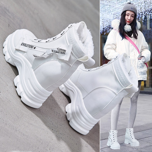 Women's shoes autumn and winter 2019 new Korean version of the wild increase Martin boots women's thick bottom short boots high heel wedge plus velvet