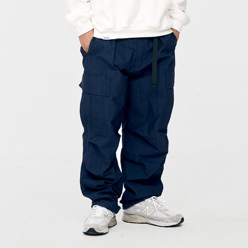 WASSUP春季五代直筒工装裤 立体剪裁大口袋尼龙绳调节 经典双色入