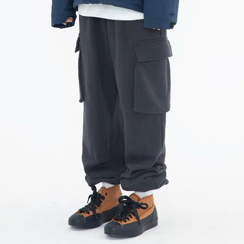 WASSUP冬季新款休闲工装运动百搭直筒保暖加厚加绒宽松卫裤