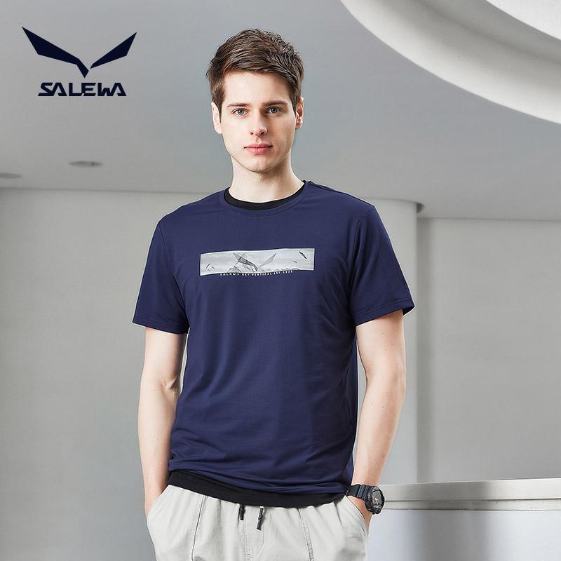 salewa沙乐华德国户外运动男透气吸汗休闲速干跑步圆领T恤