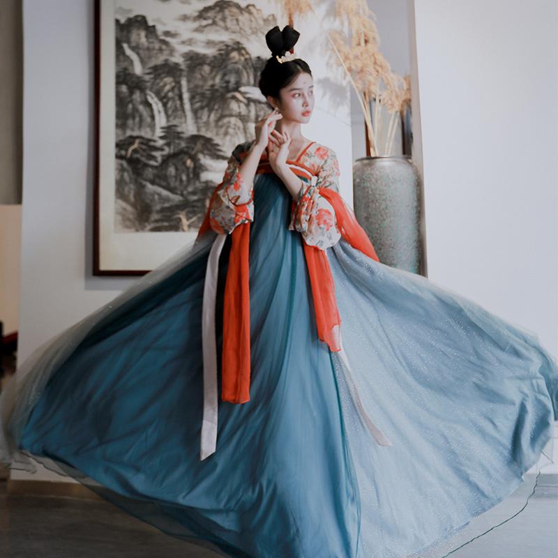 渔歌子 正品原创超仙改良汉服女撞色印花低领两片式系带齐胸襦裙