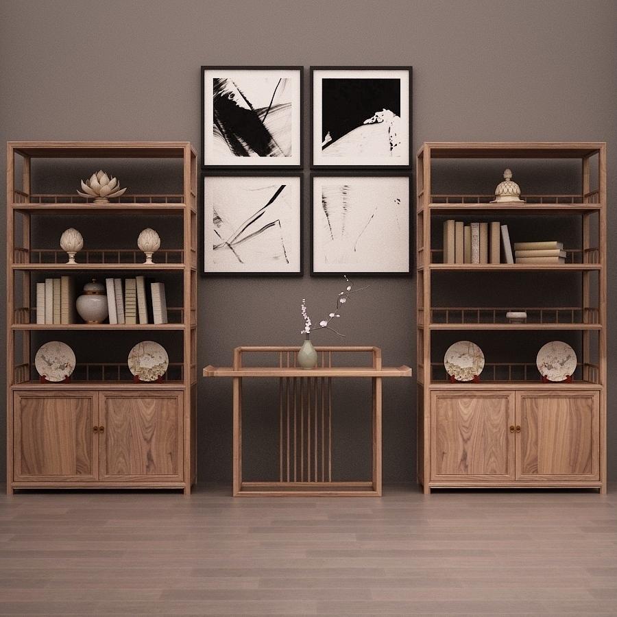 新中式书架榆木茶叶展示架禅意博古架实木书柜茶室置物架定做包邮