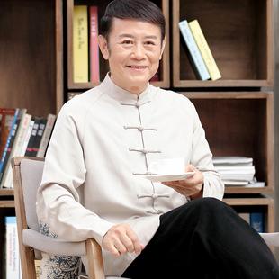 中老年唐装男装长袖衬衣中式盘扣打底衫棉麻禅修居士服中国风上衣